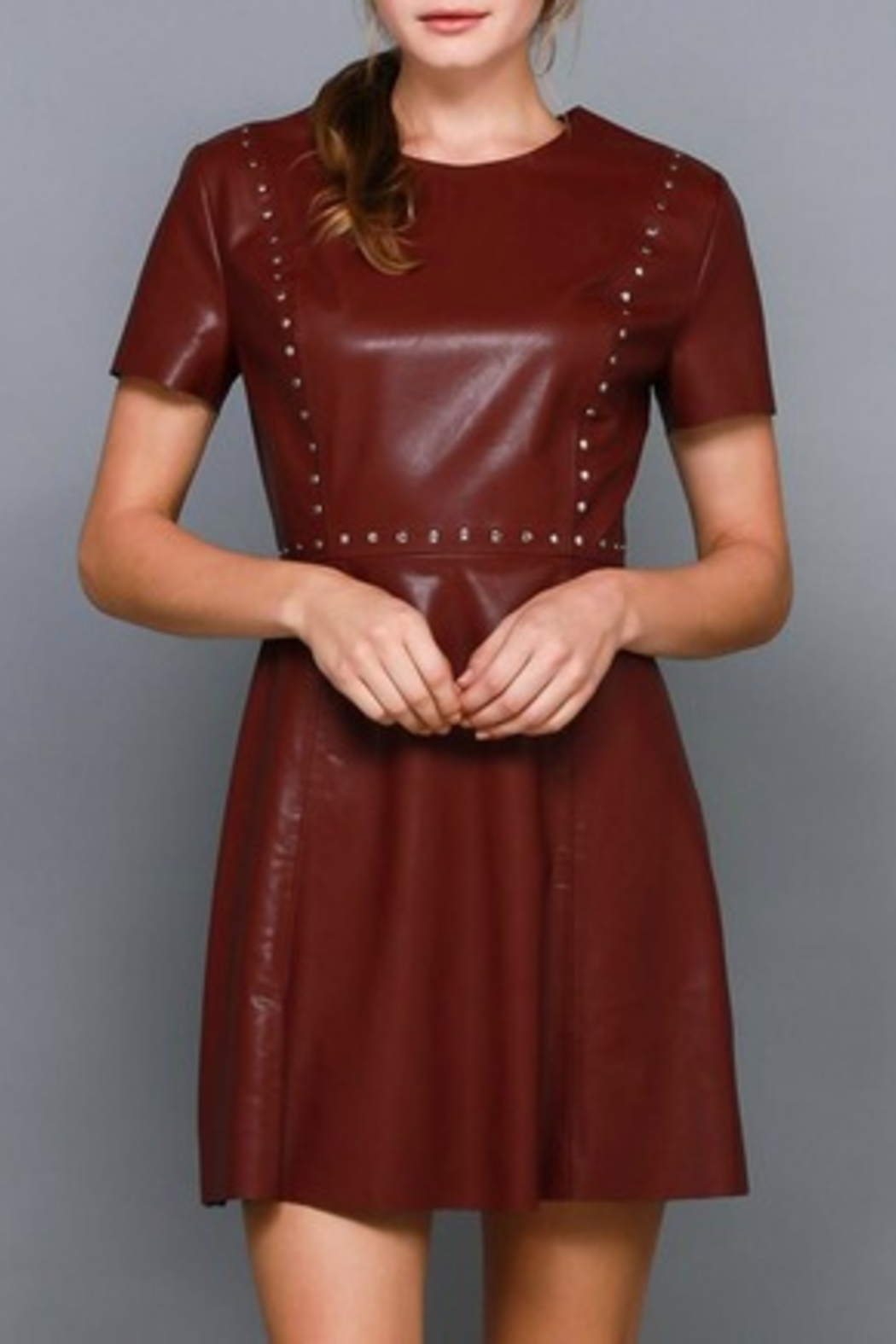 Do & Be Studded Leather Dress - Main Image