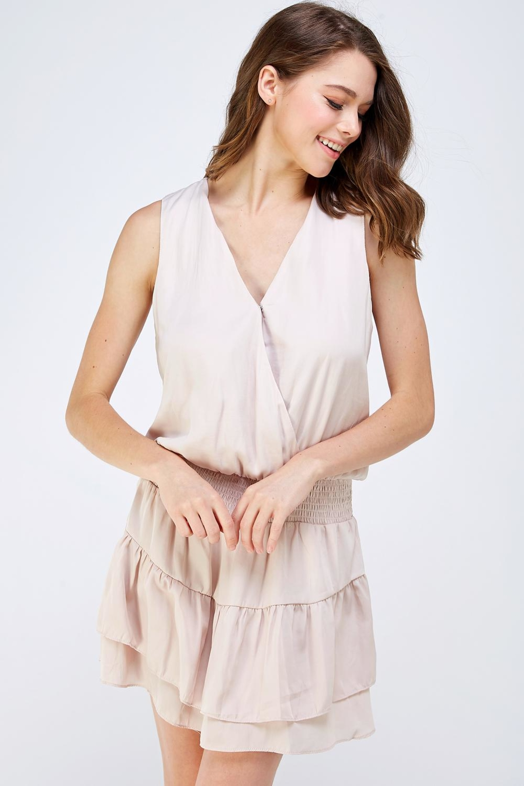 Do & Be Surplice Smocked Dress - Front Cropped Image