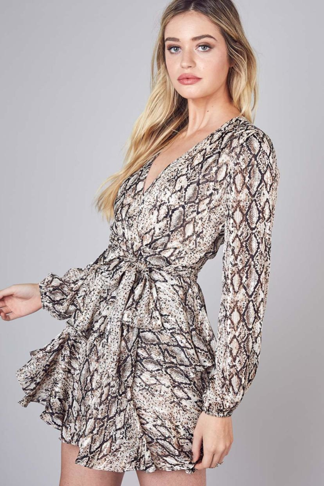 Do & Be Tie-Belted Ruffle Dress - Front Full Image