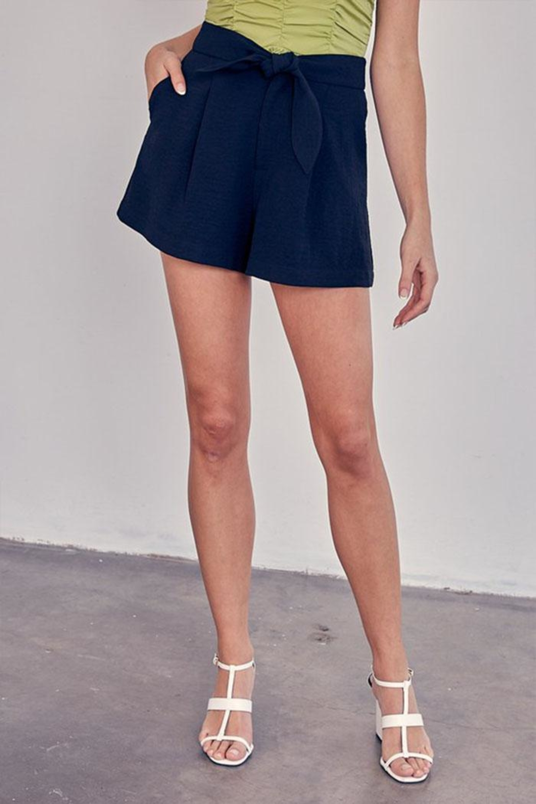 Do & Be Tie Front Shorts - Front Cropped Image