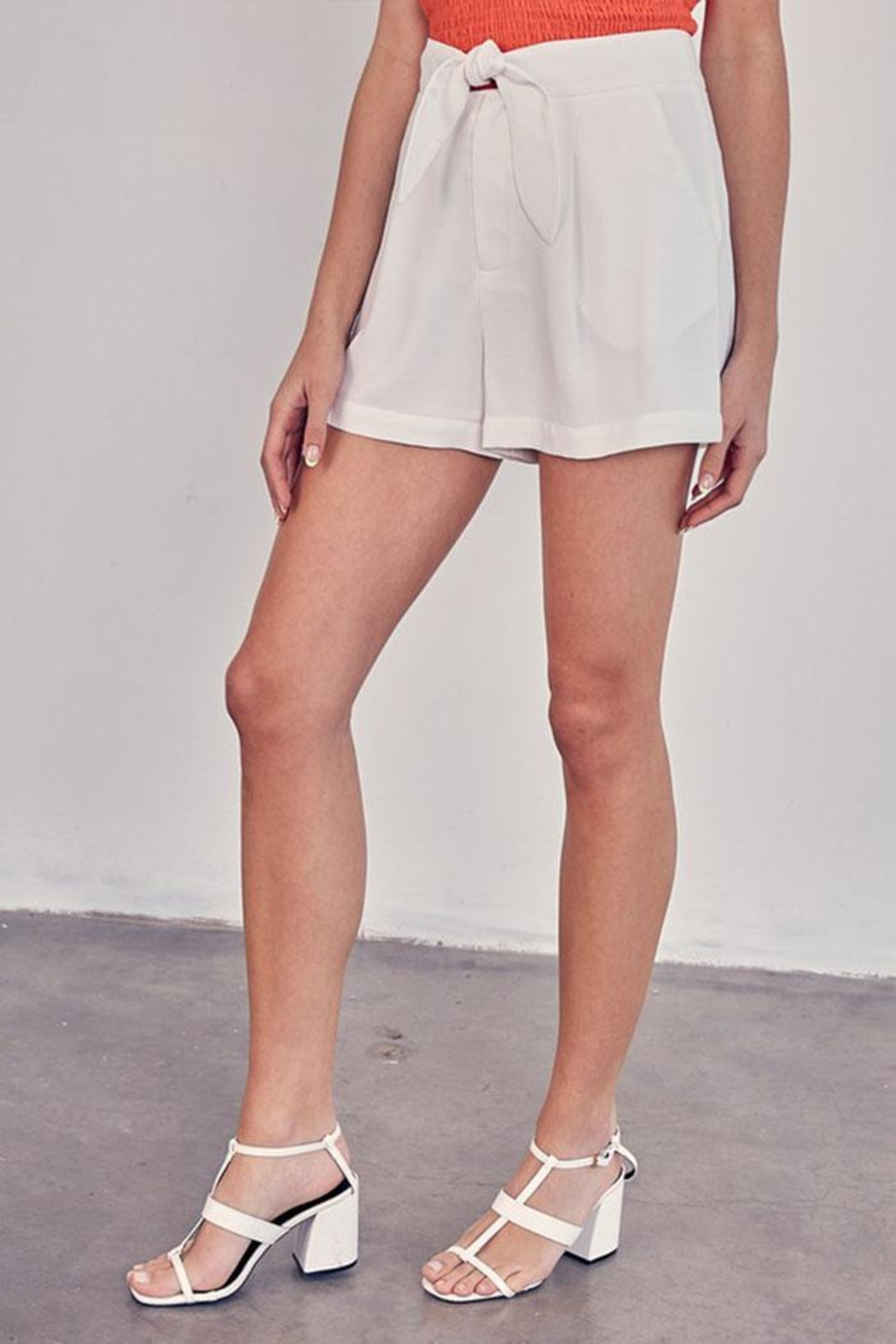 Do & Be Tie Front Shorts - Back Cropped Image