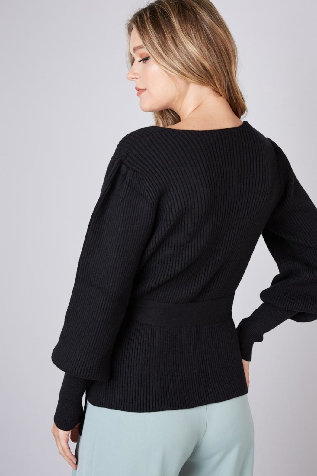 Do & Be Tie Waist Wrap-Sweater - Side Cropped Image