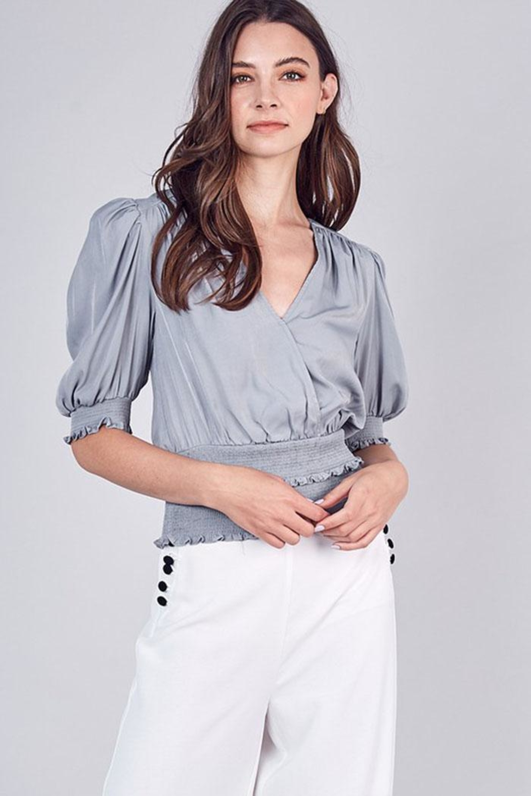Do & Be Tiered V-Neck Top - Back Cropped Image