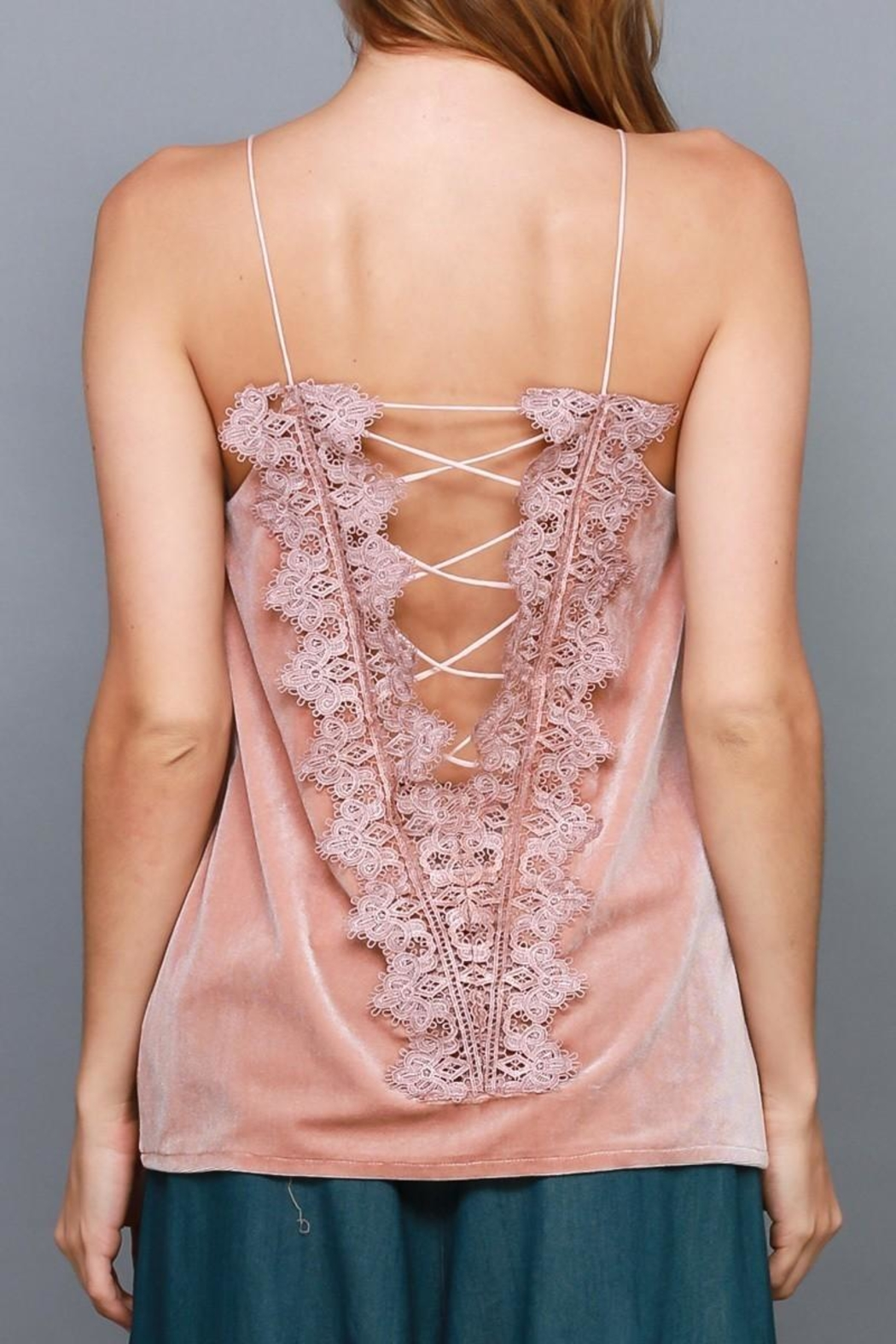 Do & Be Velvet Lace Up Top - Front Full Image