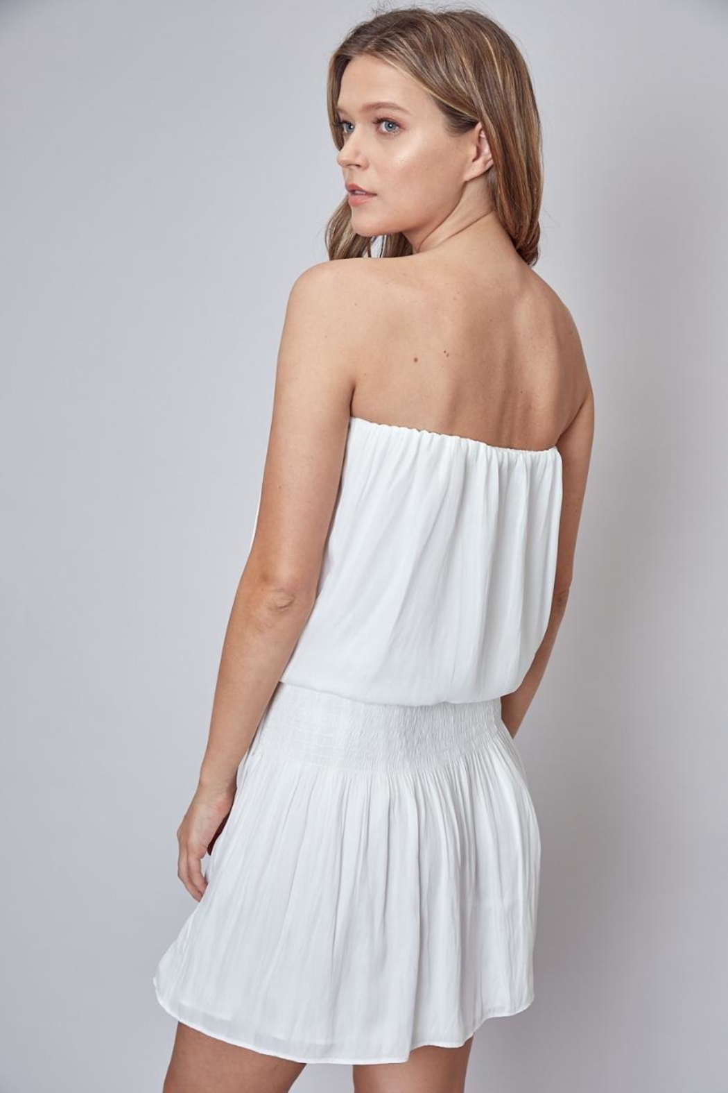 Do & Be White Strapless Dress - Side Cropped Image