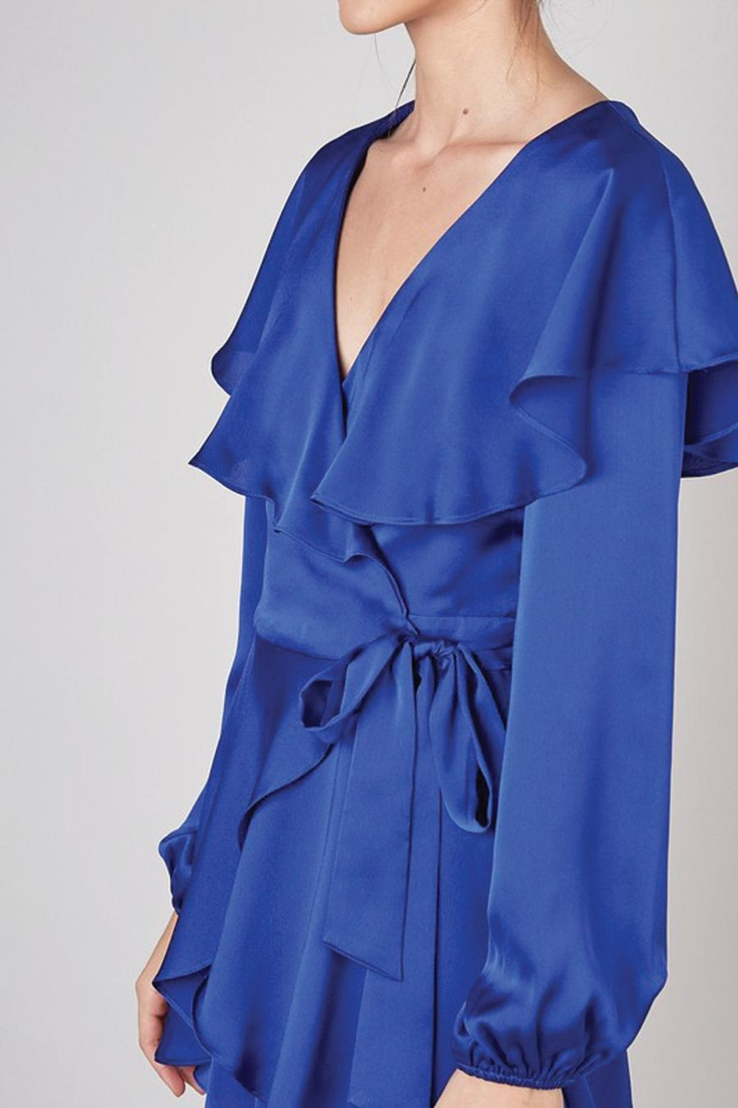 Do & Be Wrap Front Romper With Ruffle Collar - Back Cropped Image