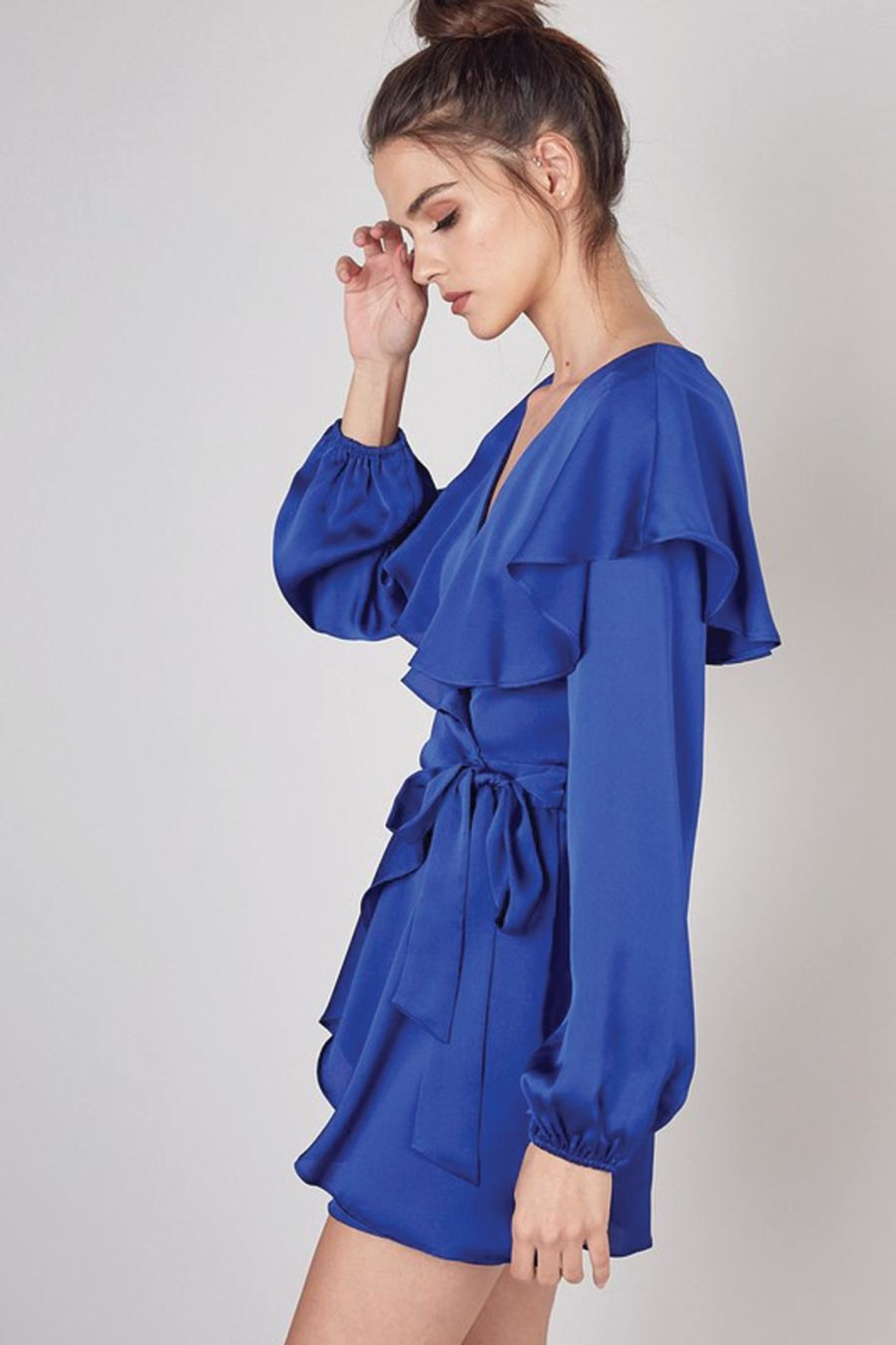 Do & Be Wrap Front Romper With Ruffle Collar - Front Full Image