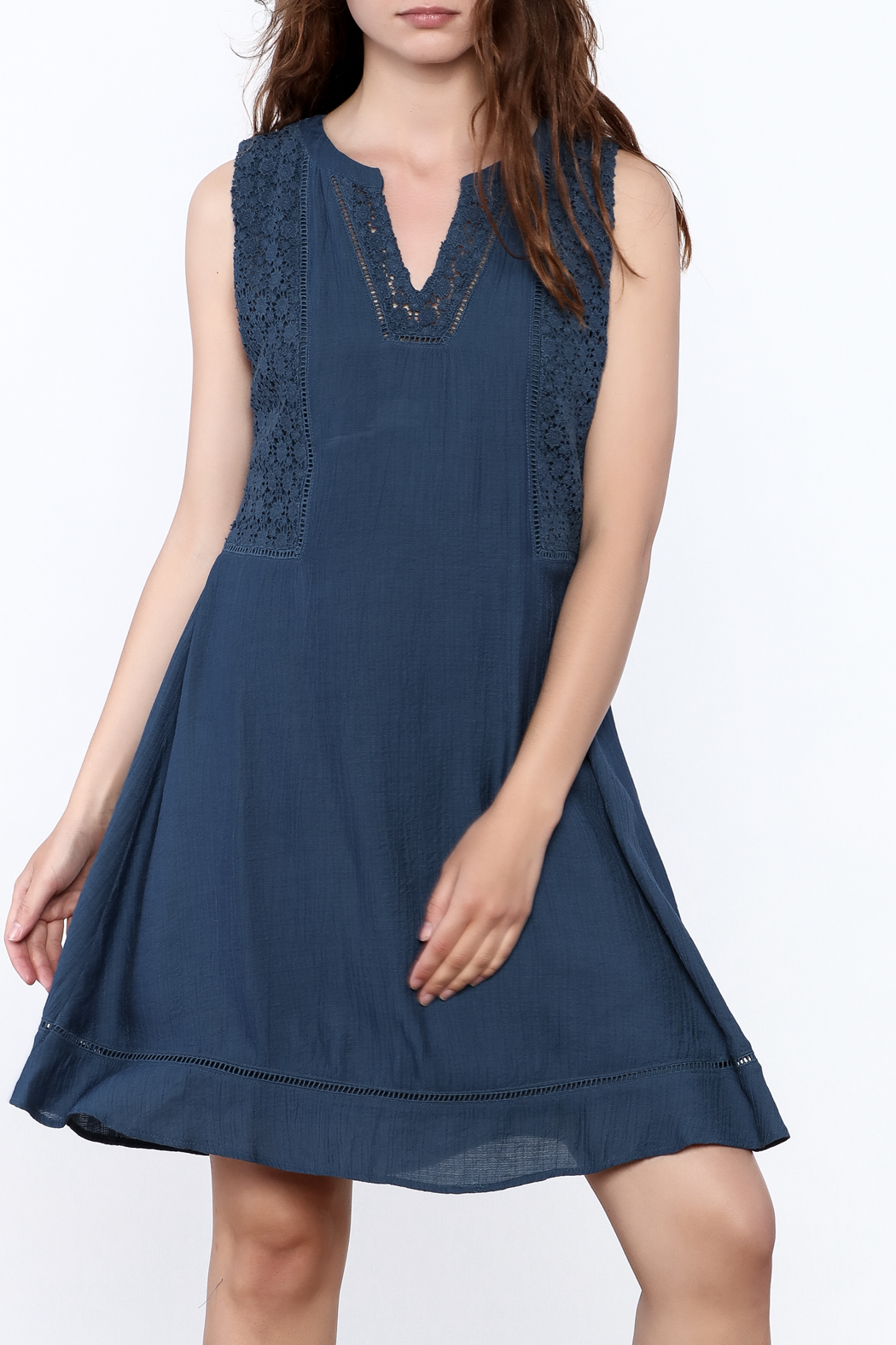 Doe & Rae Blue Crochet Dress - Front Cropped Image