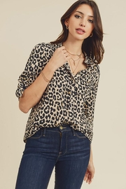 Doe & Rae Animal Printed Button Down Shirt - Front cropped