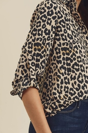 Doe & Rae Animal Printed Button Down Shirt - Front full body