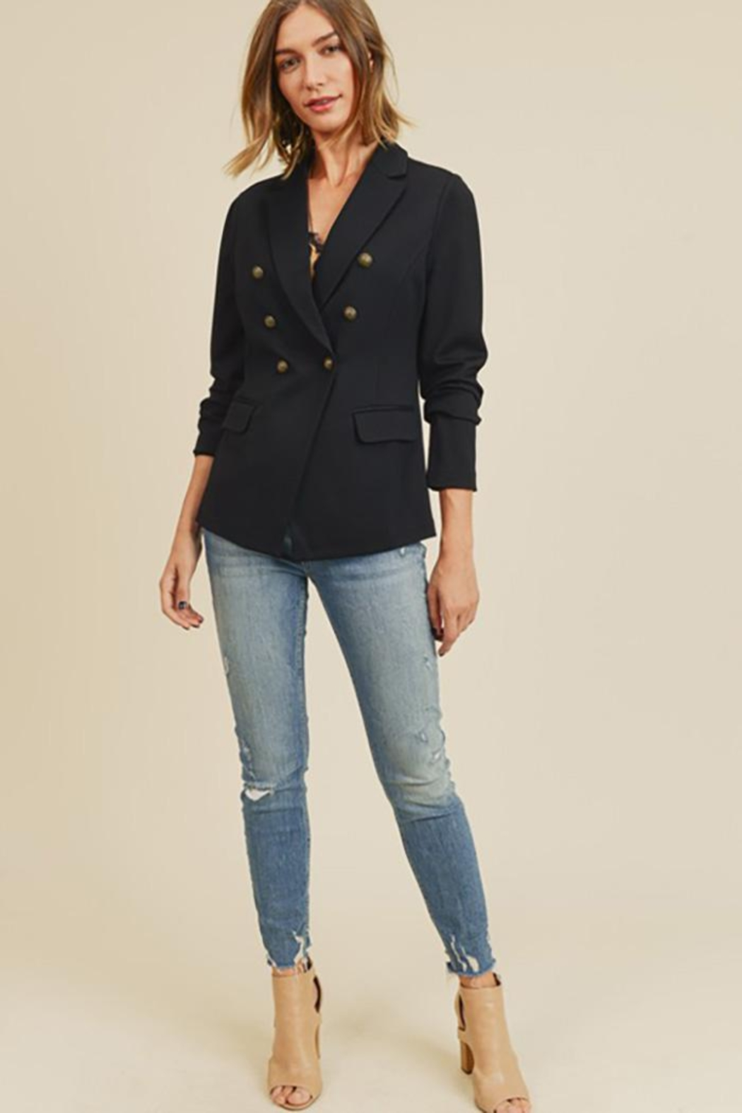 Doe & Rae Button Detail Jacket With Waist Line - Back Cropped Image