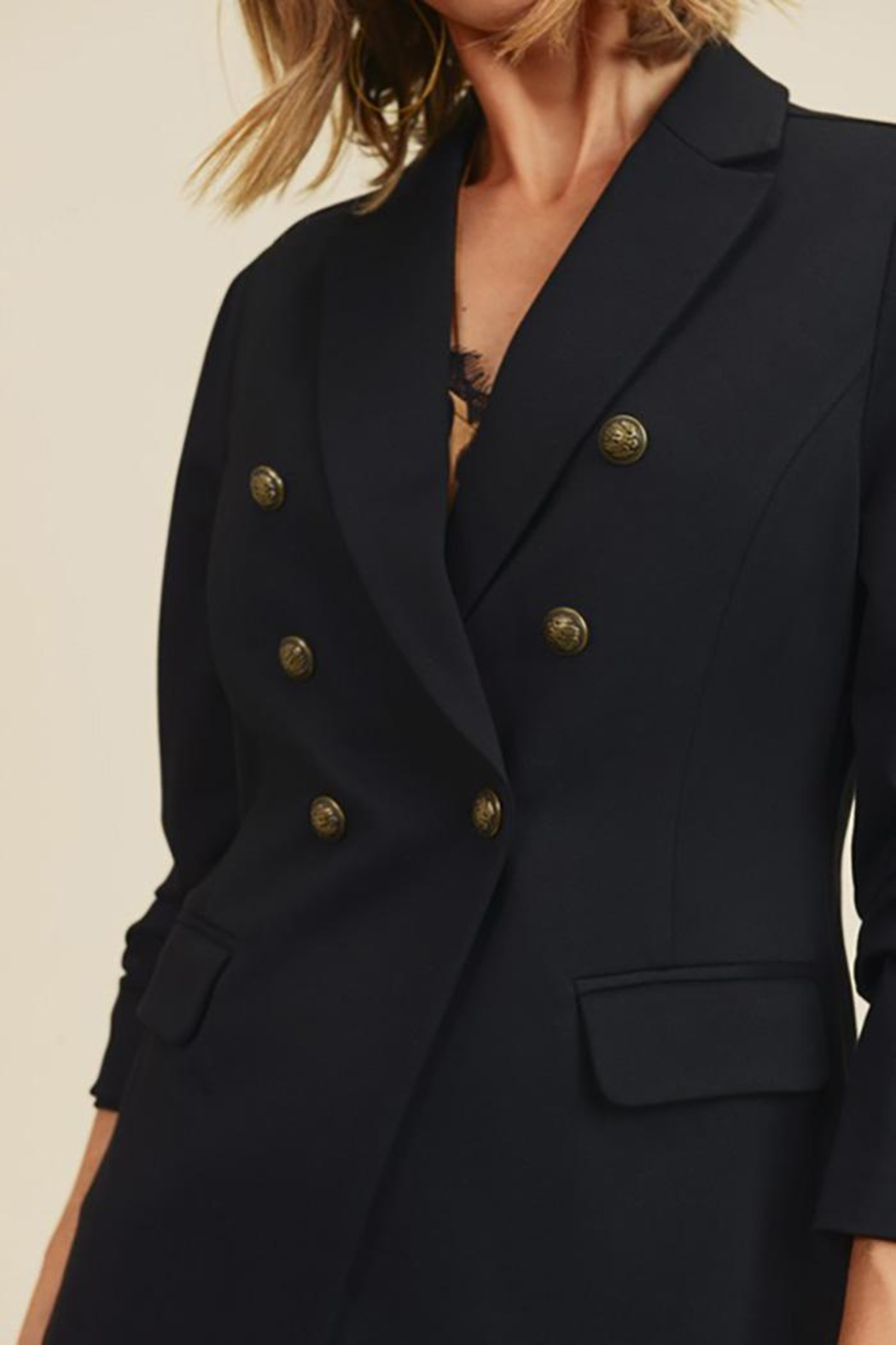 Doe & Rae Button Detail Jacket With Waist Line - Front Full Image