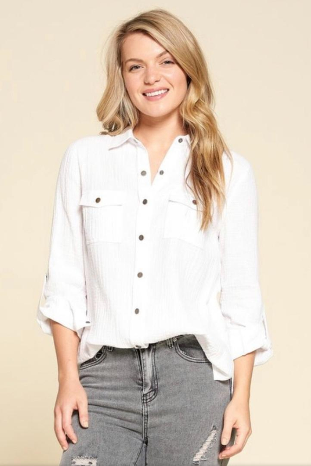 Doe & Rae Button Down Shirt - Front Cropped Image