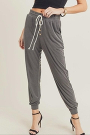 Doe & Rae Charcoal Knit Joggers - Product Mini Image