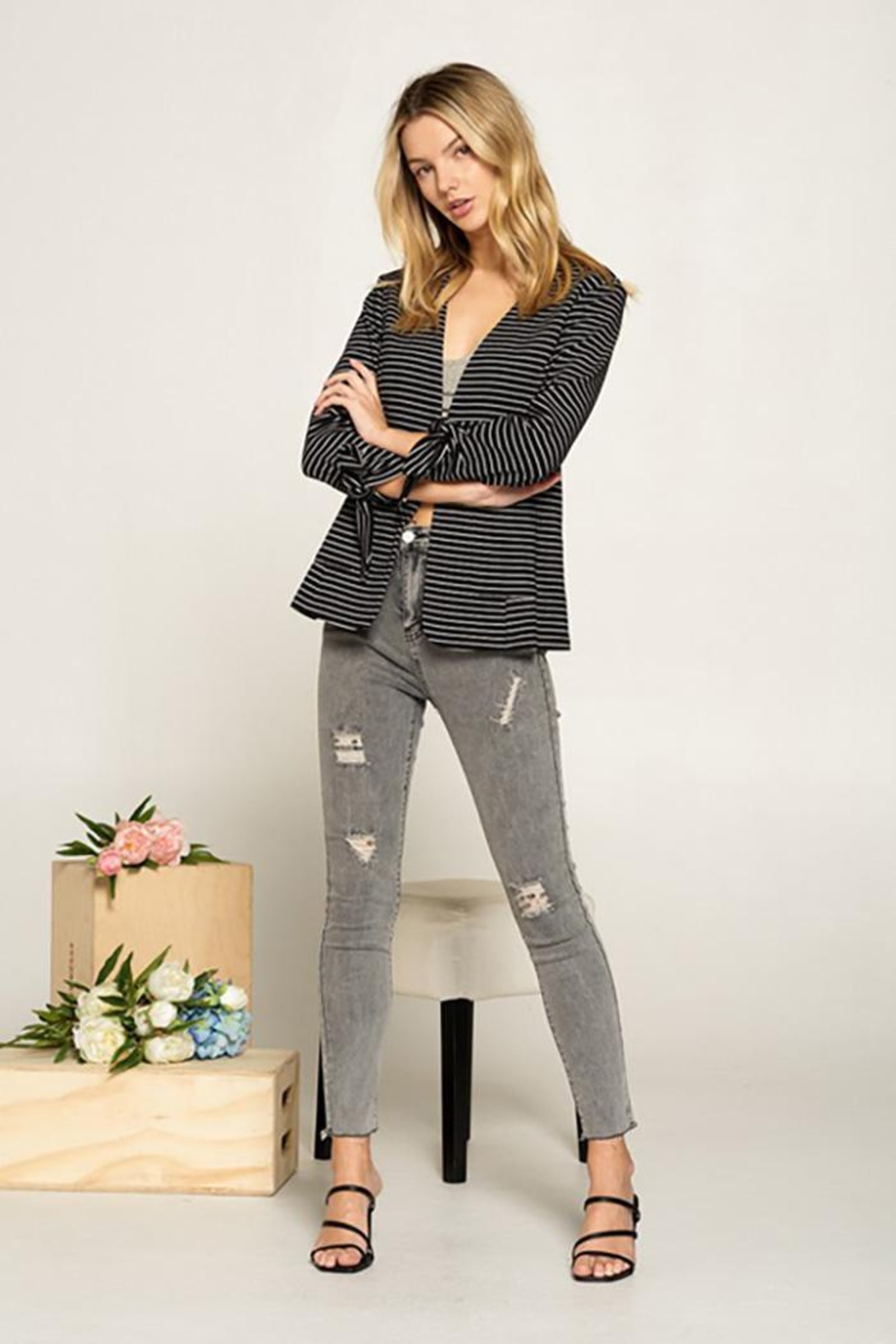 Doe & Rae Collarless Knit Blazer With Tie Sleeve And Patch Pocket Detail - Front Full Image