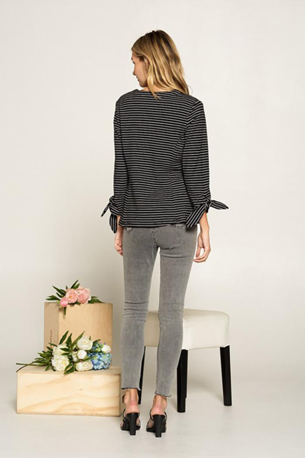 Doe & Rae Collarless Knit Blazer With Tie Sleeve And Patch Pocket Detail - Back Cropped Image