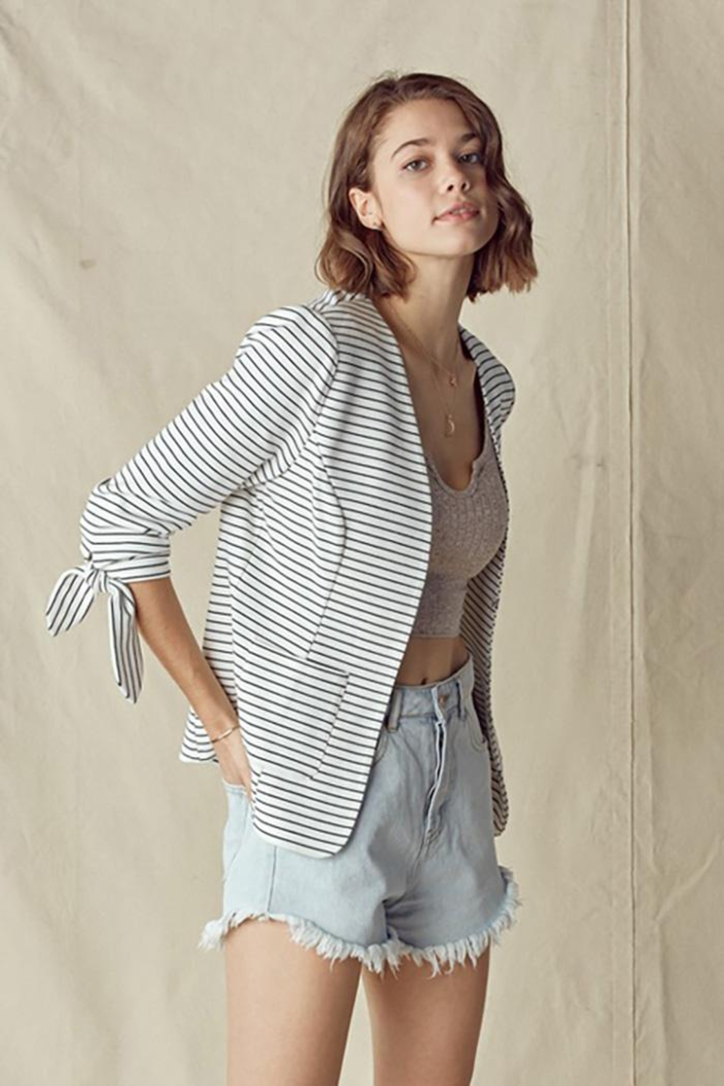 Doe & Rae Collarless Knit Blazer With Tie Sleeve And Patch Pocket Detail - Main Image