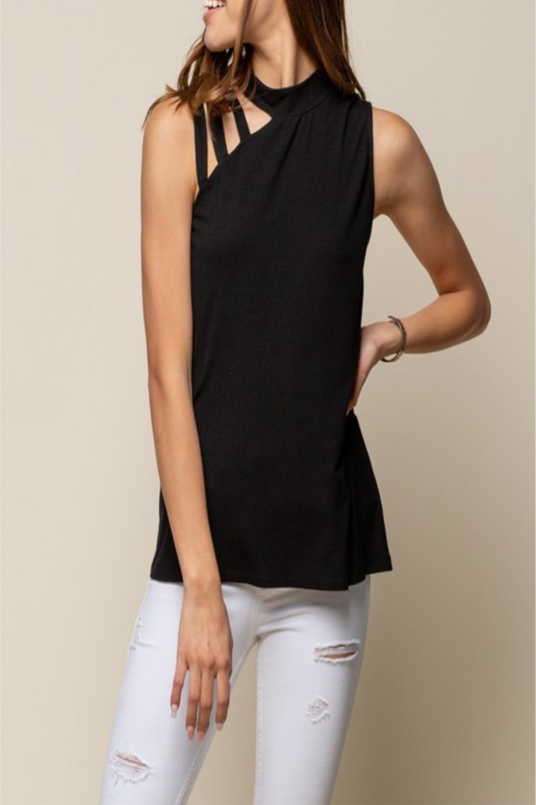 Doe & Rae Detailed Neckline Tank - Front Cropped Image