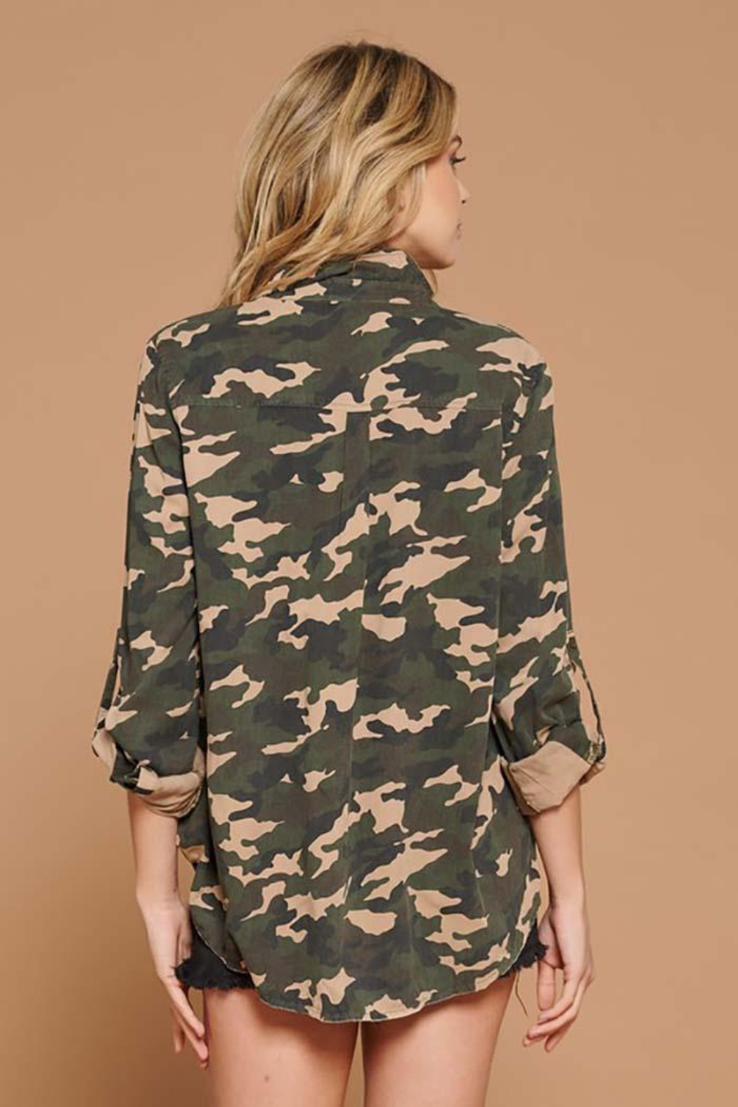 Doe & Rae Distressed Camo Button Down Utility Shirt - Front Full Image