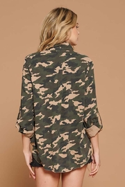 Doe & Rae Distressed Camo Button Down Utility Shirt - Front full body