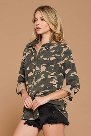 Doe & Rae Distressed Camo Button Down Utility Shirt - Other