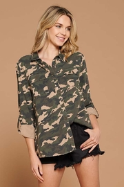 Doe & Rae Distressed Camo Button Down Utility Shirt - Product Mini Image