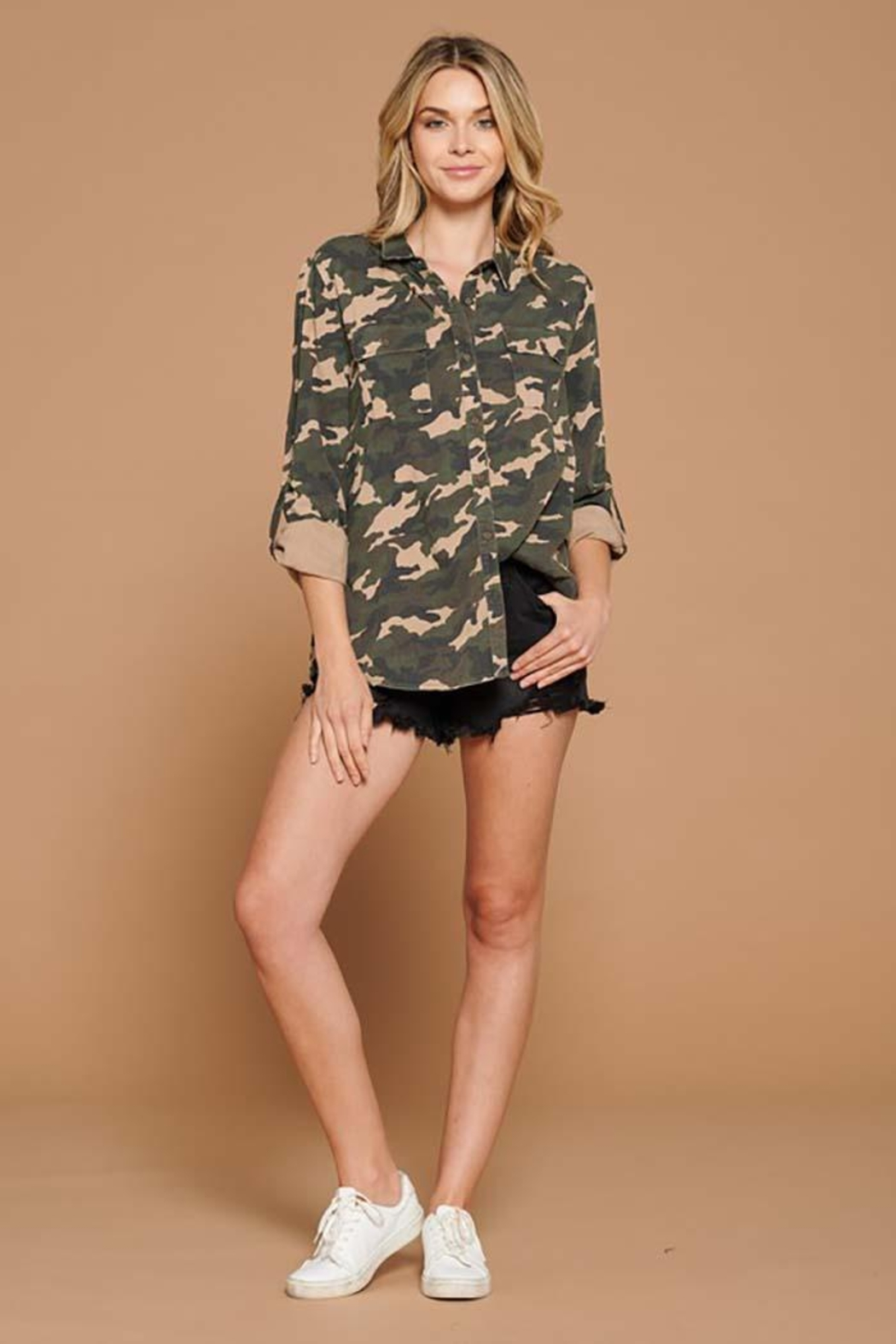 Doe & Rae Distressed Camo Button Down Utility Shirt - Back Cropped Image