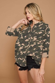 Doe & Rae Distressed Camo Button Down Utility Shirt - Side cropped