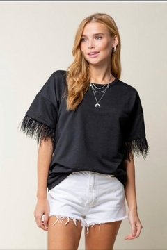 Doe & Rae Feather Sleeve Top - Product List Image