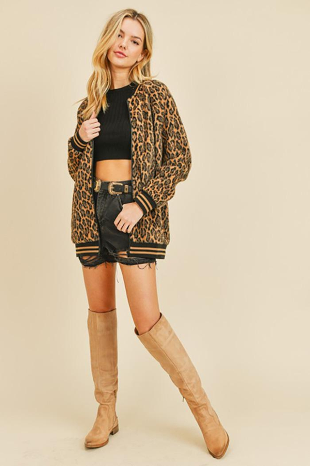 Doe & Rae Fuzzy Leopard Long Bomber Jacket With Stripe Rib - Front Cropped Image
