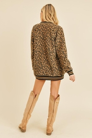 Doe & Rae Fuzzy Leopard Long Bomber Jacket With Stripe Rib - Other