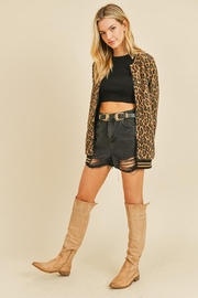 Doe & Rae Fuzzy Leopard Long Bomber Jacket With Stripe Rib - Side cropped
