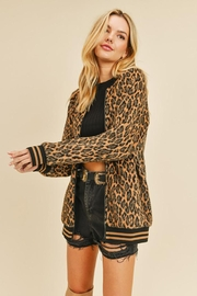 Doe & Rae Fuzzy Leopard Long Bomber Jacket With Stripe Rib - Front full body