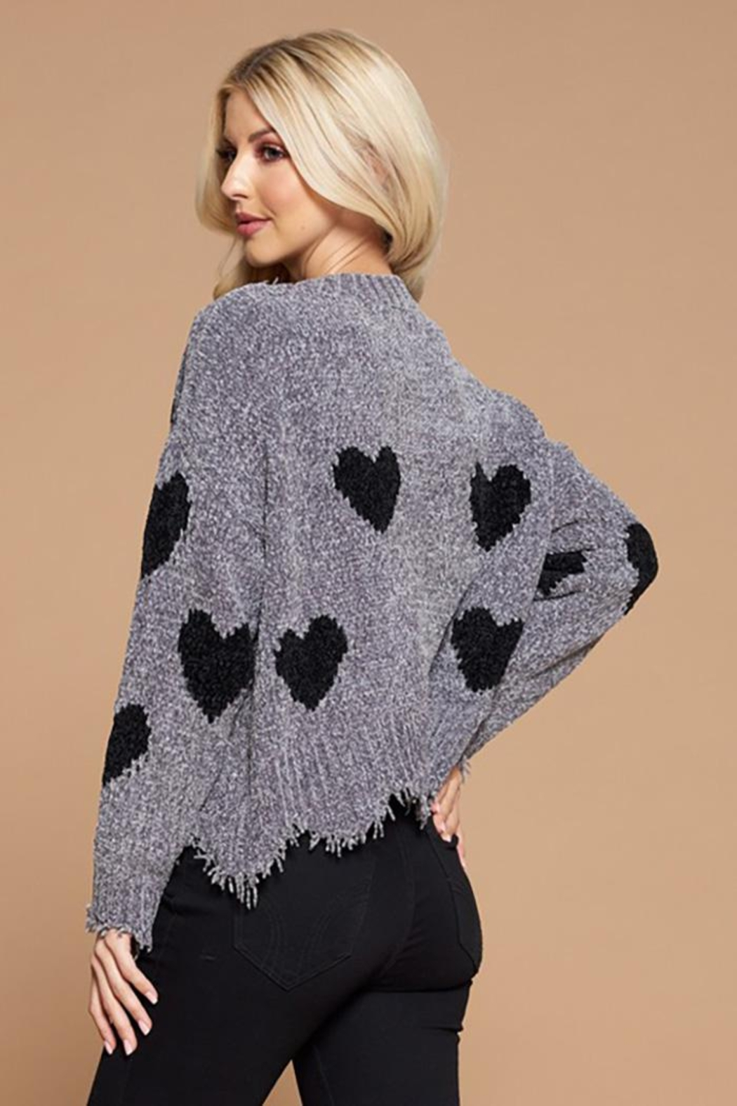 Doe & Rae Heart Shape Detail Distressed Sweater - Front Full Image