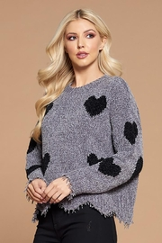 Doe & Rae Heart Shape Detail Distressed Sweater - Product Mini Image