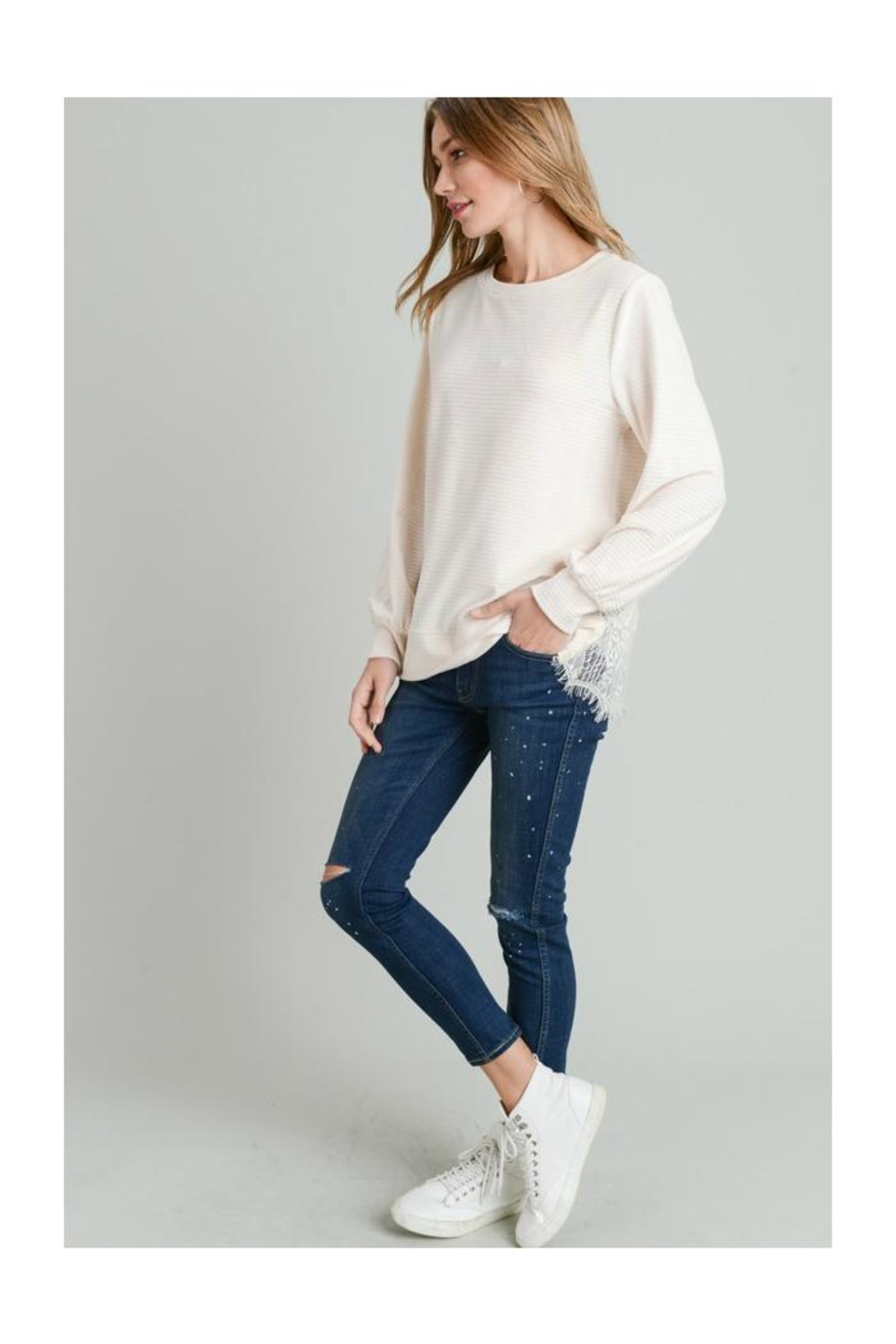 Doe & Rae Lace Back Top - Front Full Image