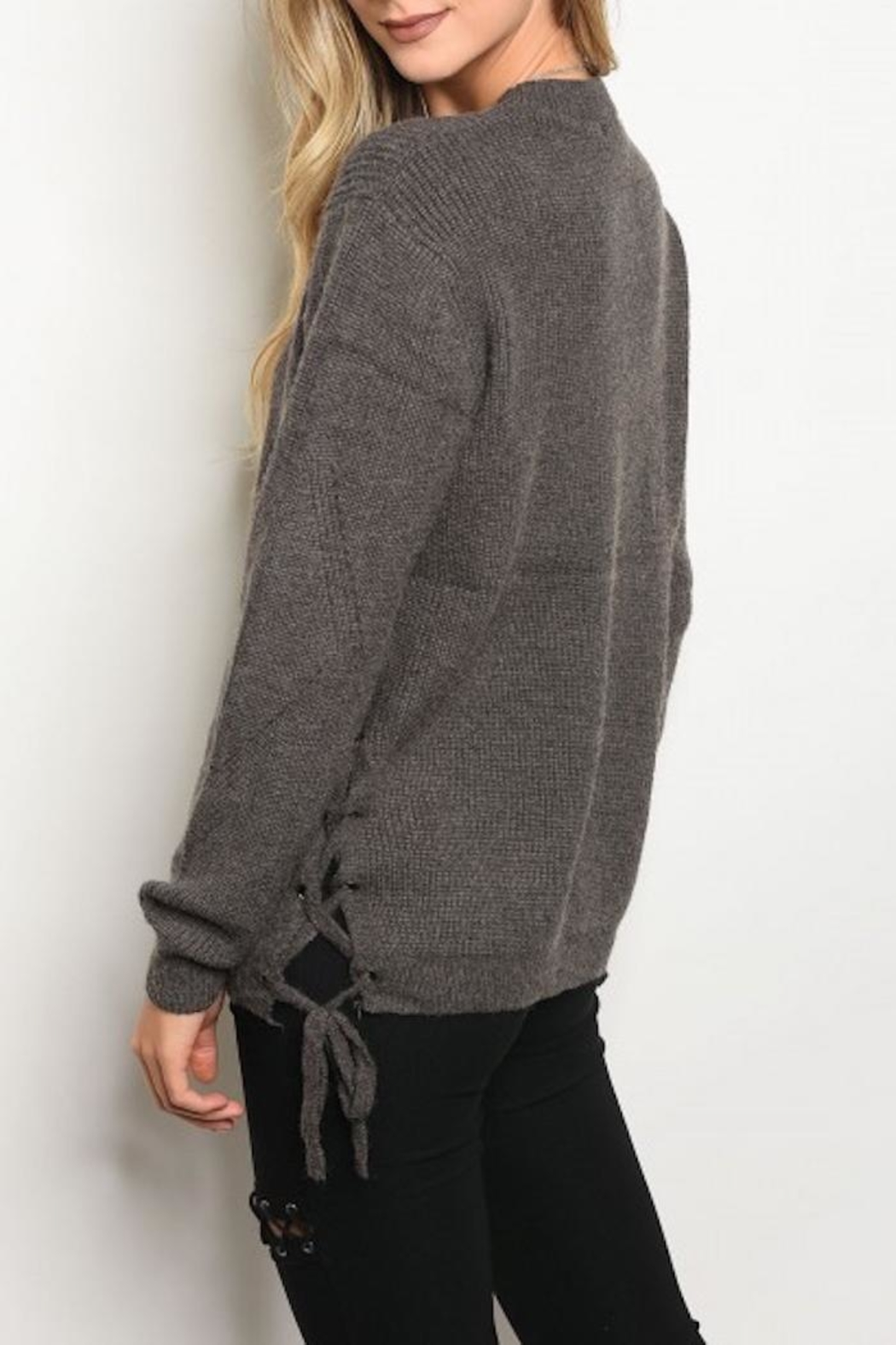 Doe & Rae Lace Up Sweater - Front Full Image