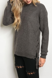 Doe & Rae Lace Up Sweater - Front cropped