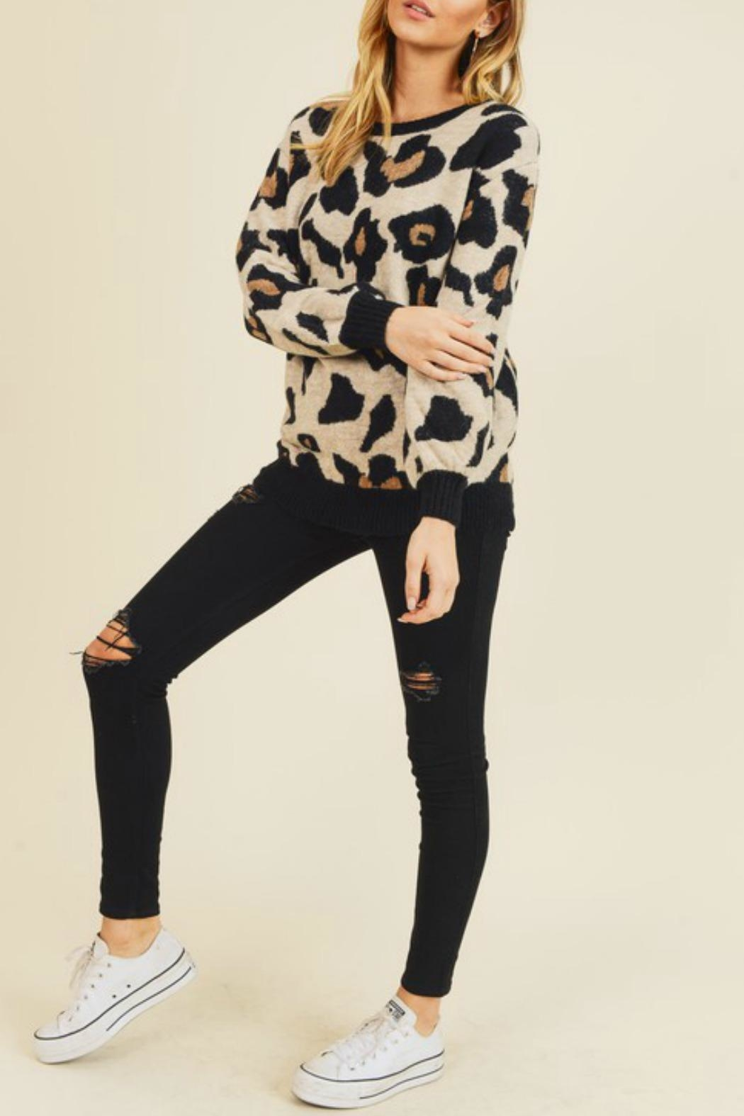 Doe & Rae Leigh Leopard Sweater - Front Full Image