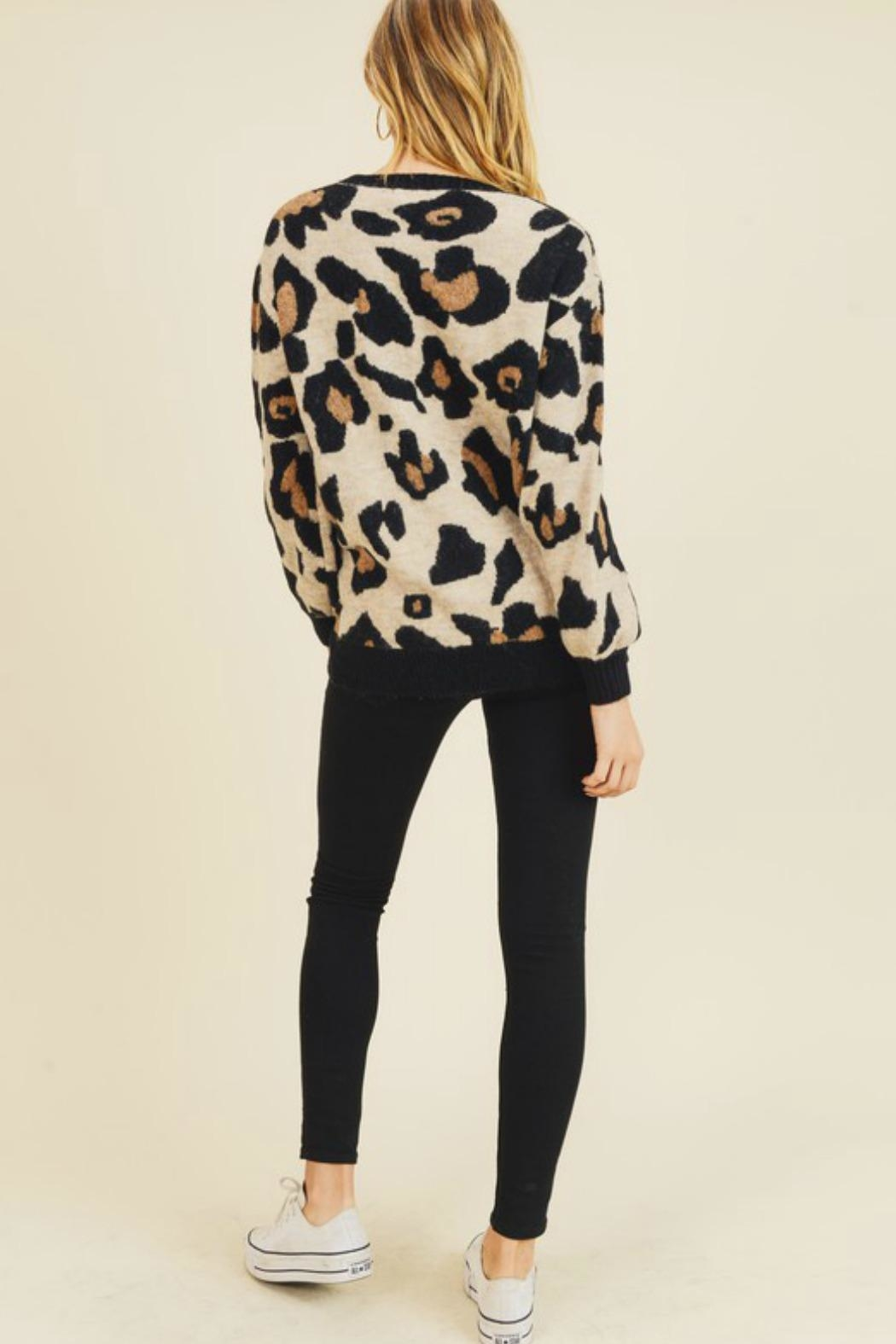 Doe & Rae Leigh Leopard Sweater - Side Cropped Image
