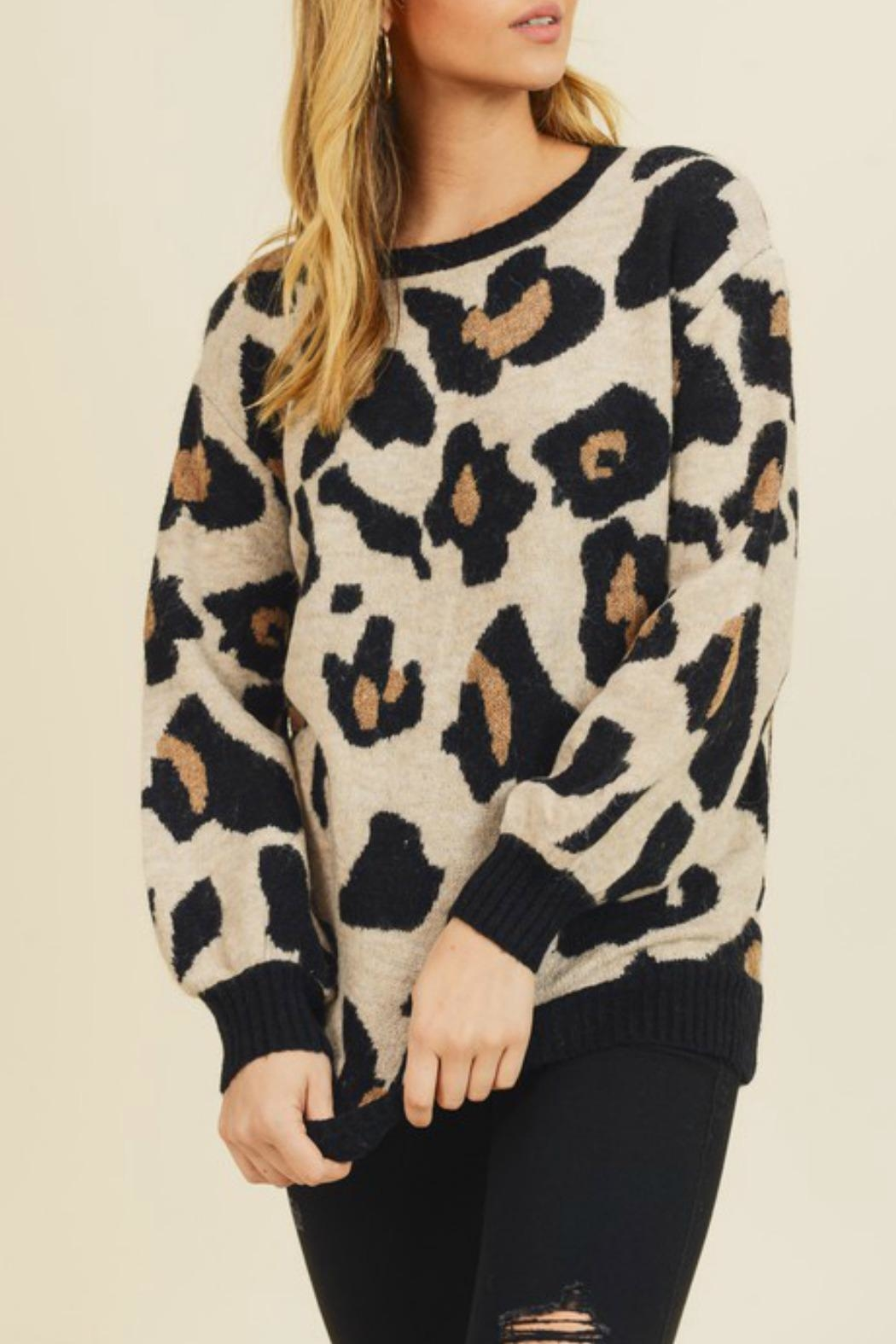 Doe & Rae Leigh Leopard Sweater - Back Cropped Image