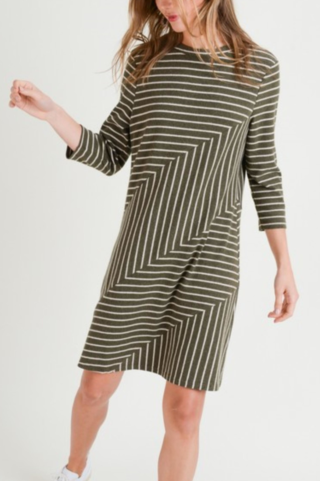 Doe & Rae Linear Knit Dress - Front Full Image