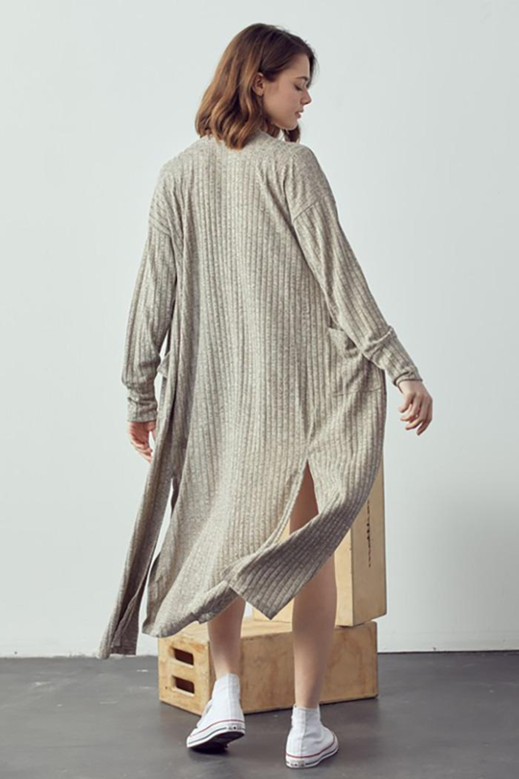 Doe & Rae Maxi Cardigan With Wooden Button - Back Cropped Image
