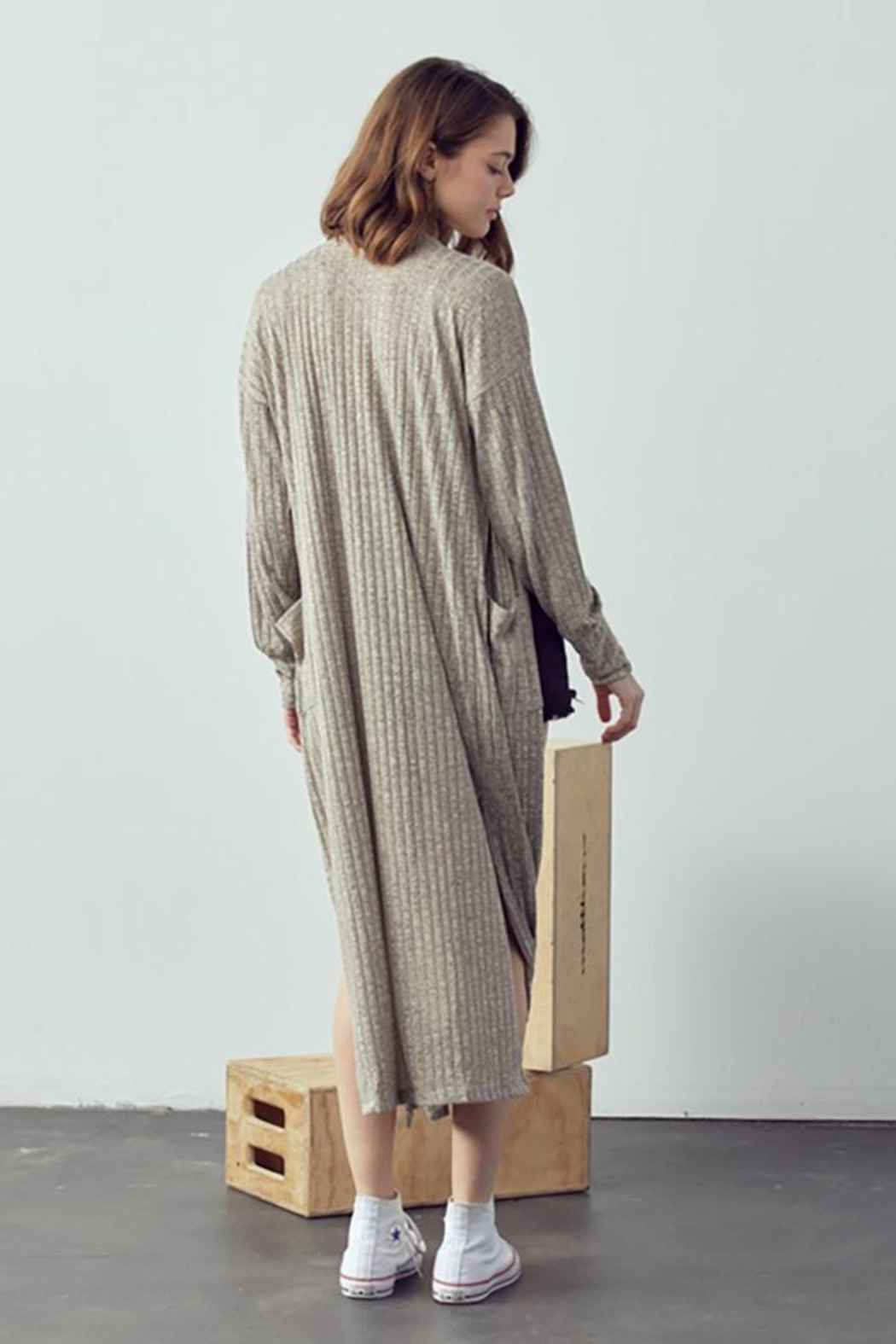 Doe & Rae Maxi Cardigan With Wooden Button - Front Full Image