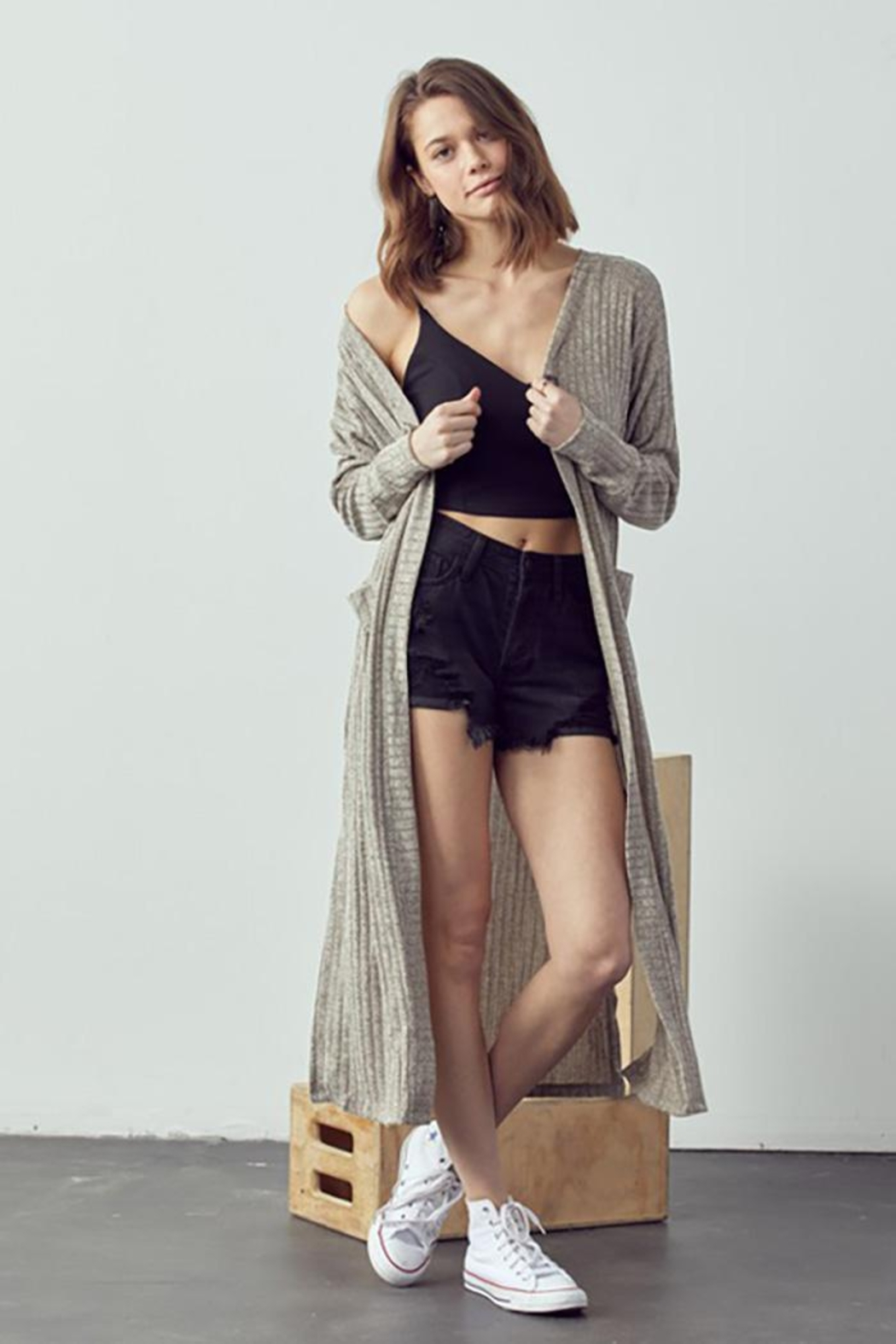 Doe & Rae Maxi Cardigan With Wooden Button - Main Image