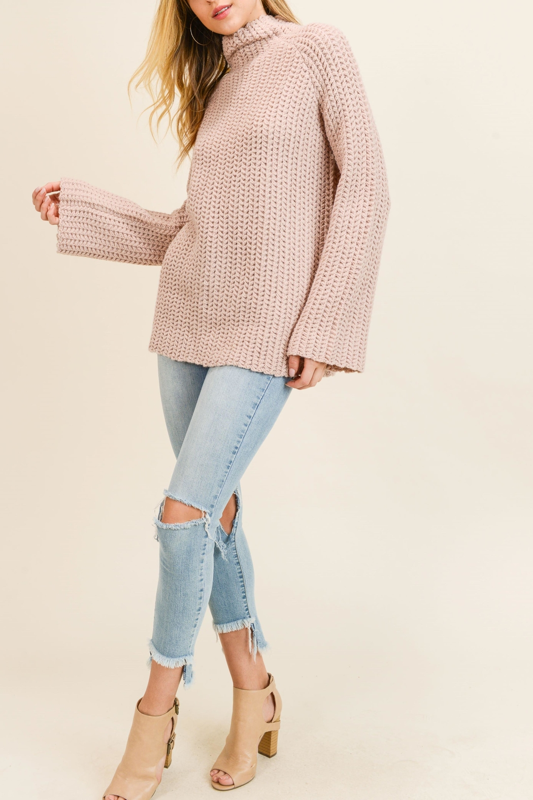 Doe & Rae Mock Twill Sweater - Front Cropped Image