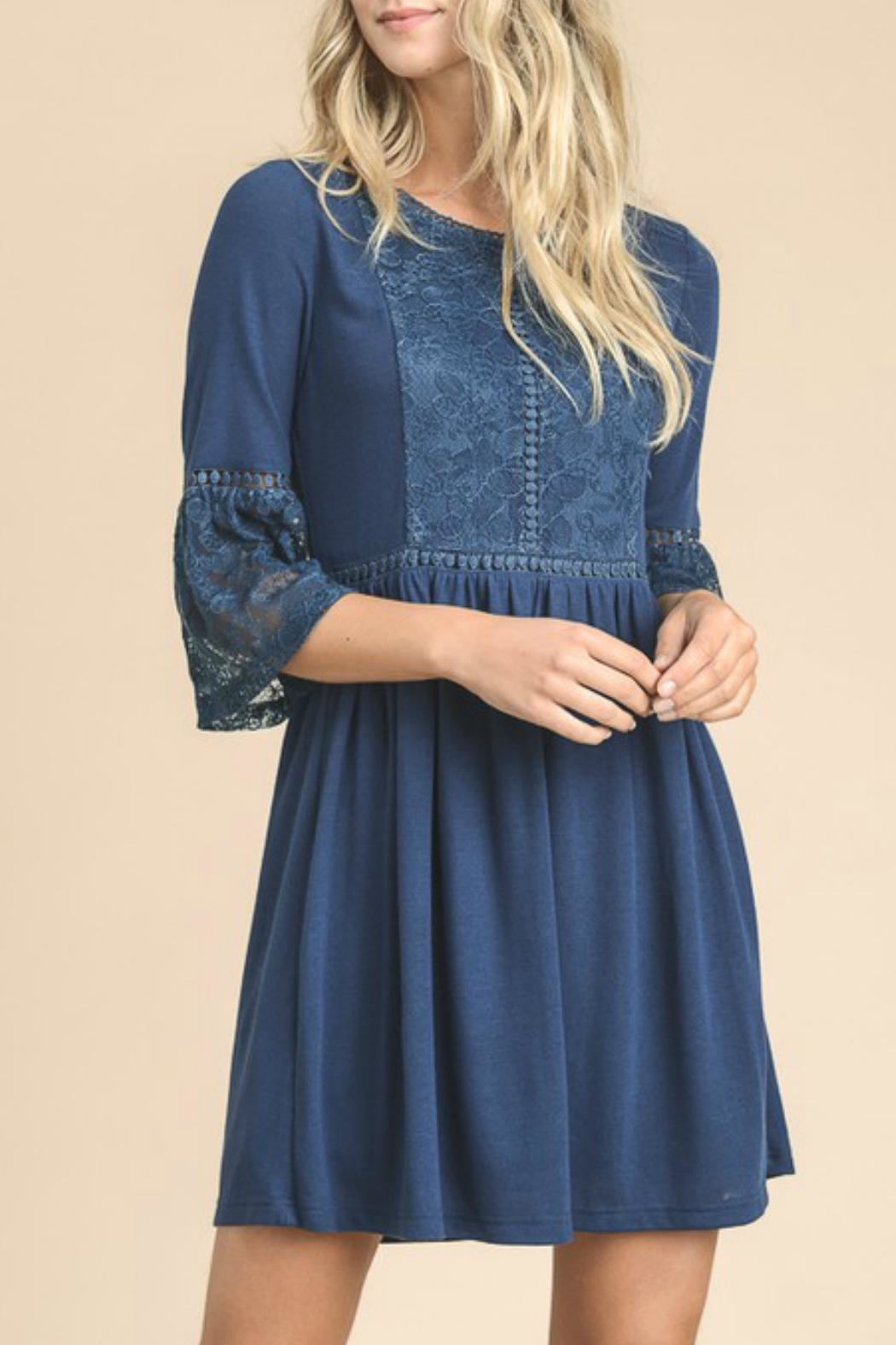 Doe & Rae Navy Lace Dress - Front Cropped Image