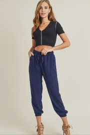 Doe & Rae Navy Leisure Pants - Product Mini Image