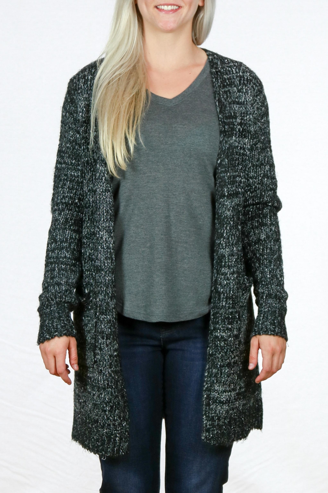 Doe & Rae Open Knit Cardigan - Front Cropped Image