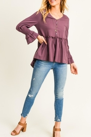Doe & Rae Peplum Button Blouse - Product Mini Image